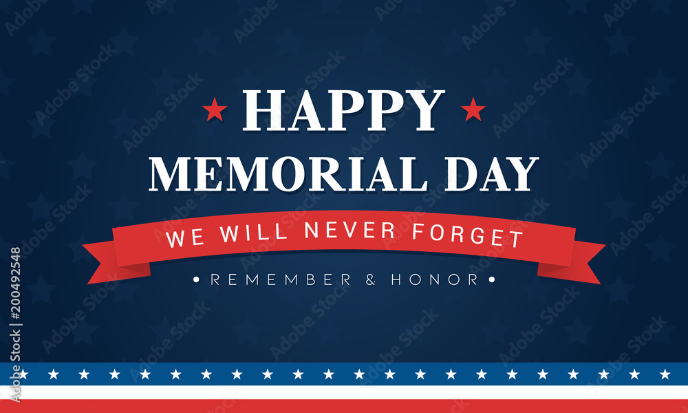 Fototapety, obrazy: Happy Memorial Day Banner Vector illustration. Typography on blue star pattern background.