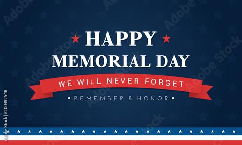 Pinturas sobre lienzo  Happy Memorial Day Banner Vector illustration