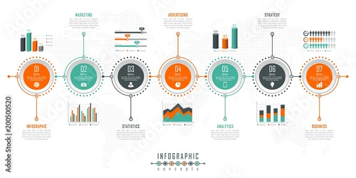 Photo  Infographic timeline template can be used for chart, diagram, web design, presentation, advertising, history