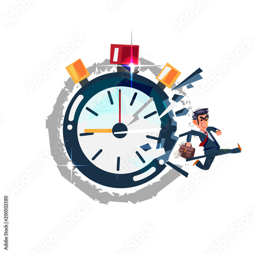 Foto op Canvas Sprookjeswereld Businessman running out of timer clock. break the times concept - vector