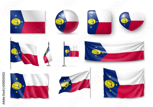 Set Wake Island Realistic Flags Banners Banners Symbols Icon