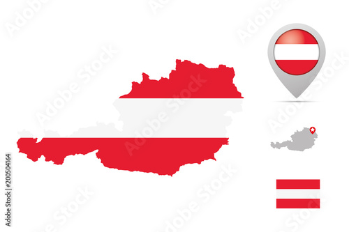 austria map in national colors flag and marker kaufen. Black Bedroom Furniture Sets. Home Design Ideas