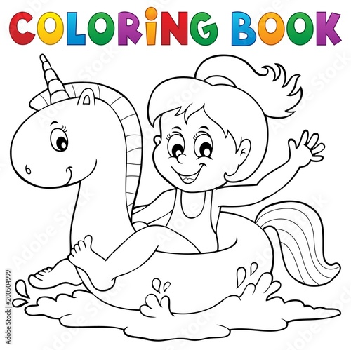 For Kids Coloring book girl floating on unicorn 1