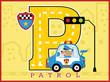 cute police cartoon vector on patrol car with big alphabet