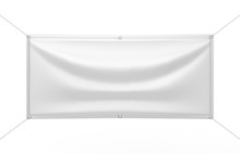 Blank White Indoor Outdoor Fabric & Scrim Vinyl Banner For Print Design Presentation. 3d Render Illustration.