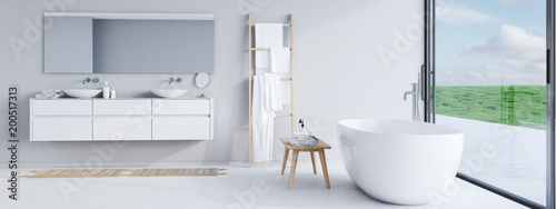 Foto  new modern bathroom with a nice view. 3d rendering