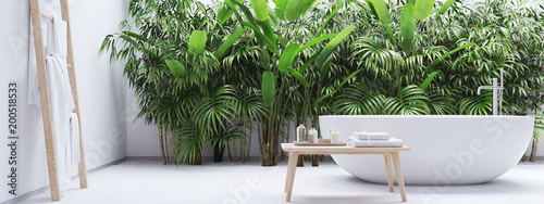 Obraz new modern zen bathroom with tropic plants. 3d rendering - fototapety do salonu