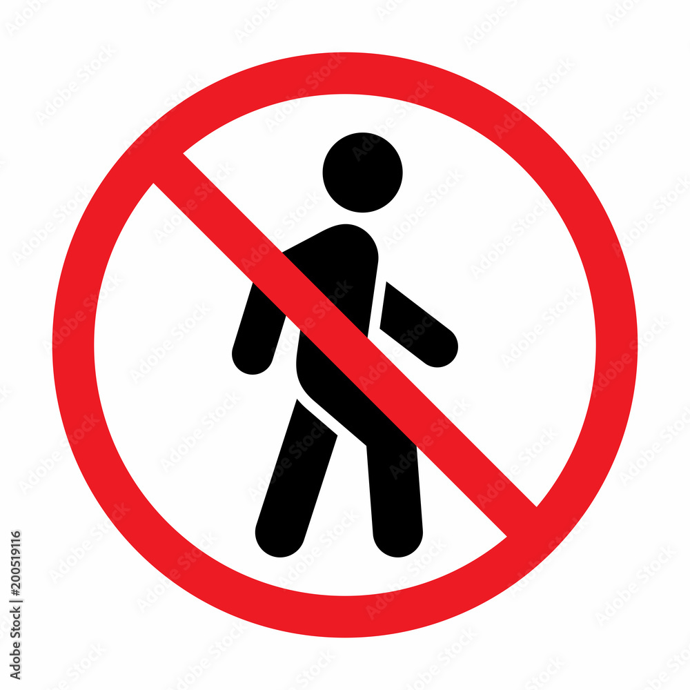Fototapeta No access for pedestrians prohibition sign.