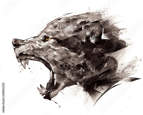 Fotografie, Obraz  sketch wolf wolf sideways on a white background