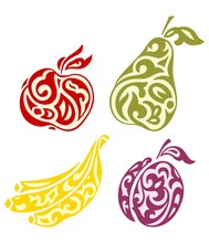 Fruits From The Kazakh Ornaments. Banana, Apple, Pear And Plum
