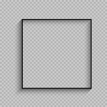 Black Thin Square Frame With Shadow