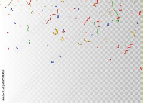 Fototapeta Golden confetti, isolated on cellular background. Festive vector illustration Tiny confetti with ribbon on white background. Festive event and party. Vector yellow. obraz na płótnie