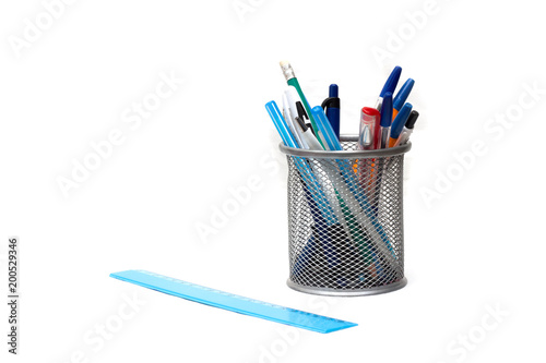 Fotografie, Obraz  Stand for pens and pencils and ruler