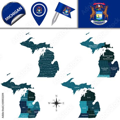 Fotografie, Obraz  Map of Michigan with Regions