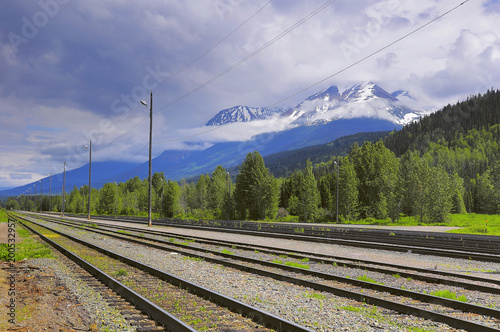 View of the empty Smithers railway station. British Columbia. Canada.