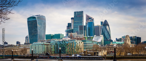 Photo  London, England - Panoramic view of Bank, London's leading financial district wi