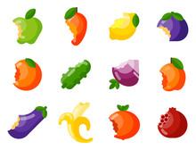 Bitten Fruits Vector Vitamin F...