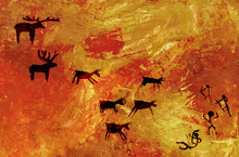 A Group Of Primitive People Hunts A Herd Of Hoofed Animals Of Deer And Moose. Stylization Of Cave Rock Art.
