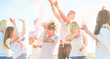 canvas print picture - Happy friends doing party with powder colors at holi festival in summer