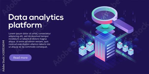 Fotografie, Obraz  Data analytics platform isometric vector illustration