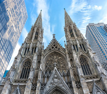 Front View St. Patrick's Cathedral In New York, USA