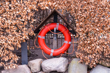 A Red Life Bouy Set Against A Bush Of Brown Leaves In A Small Wooden Hut