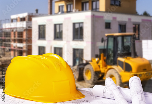 Deurstickers Vruchten Helm mit Bauplänen und Baustelle