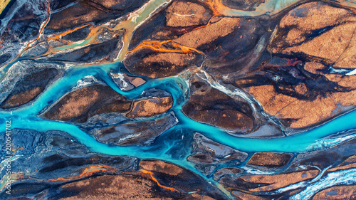 Wall Murals Northern Europe Aerial view and top view river in Iceland. Beautiful natural backdrop.