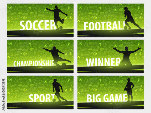 Fotografía  Set of Football or Soccer design banners with hand draw doodle elements and football player silhouette
