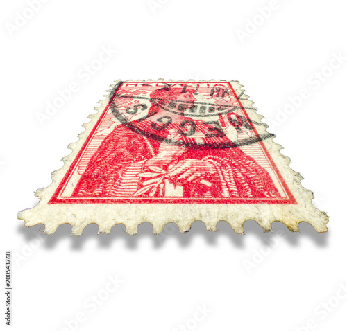 Swiss old postage stamp. Helvetia illustration Fototapet
