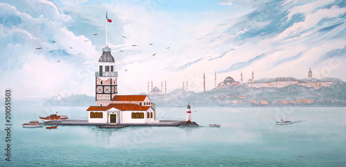 Paint of Kiz Kulesi or Maiden's Tower in Istanbul - TURKEY Wallpaper Mural