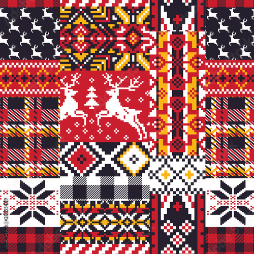 Vector nordic jacquard knitted patchwork seamless pattern wallpaper Canvas Print