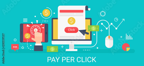 Photo  Flat modern vector concept Pay per click banner with icons and text