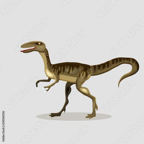 Photo  Vector cartoon  illustration of a dinosaur.  Velociraptor.