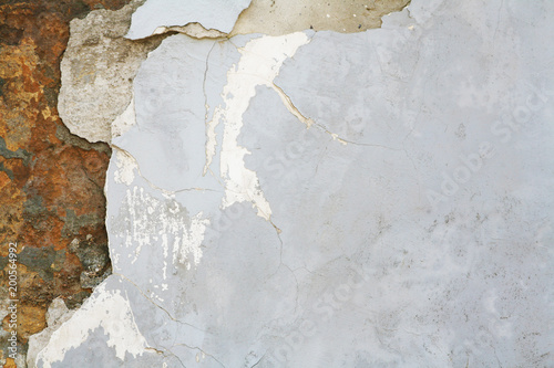 stone wall with old shattered plaster - 200564992