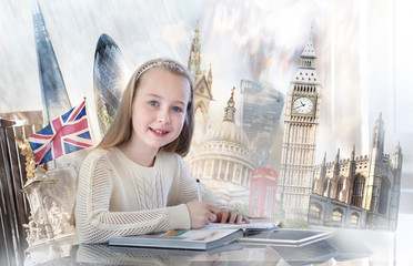 FototapetaPretty english girl with books, studying. English educational concept image with famous artefacts at the background. Big Ben, Victoria monument, Tower bridge, Nelson column, Parliament, Cambridge.