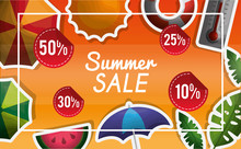 Season Summer Porcent Of Things In Summer Sale Umbrellas Watermelon Plants Sunshine Vector Illustration