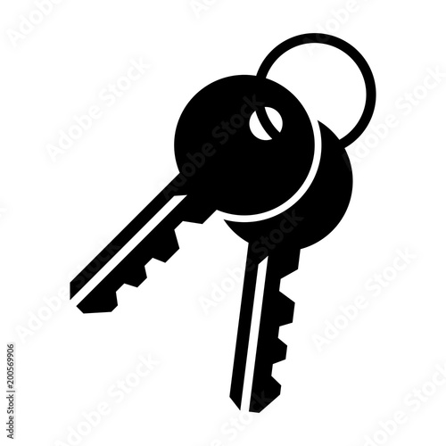 Fotomural  Simple, flat, black pair of keys icon