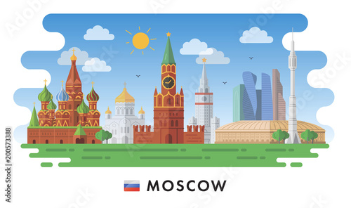 Staande foto Kasteel Moscow, Russia. Red Square, Churches, Modern buildings and city sights. Vector illustration