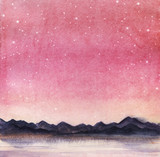 Landscape is a dark silhouette of mountain chain on the far side of the lake against the backdrop of pink sky with milk stars. Hand drawn watercolor  background - 200573500
