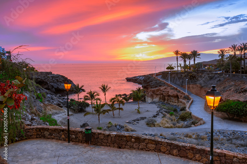 Photo sur Aluminium Iles Canaries Playa Paraiso, Tenerife, Canary islands, Spain: Beautiful sunset on Playa Las Galgas
