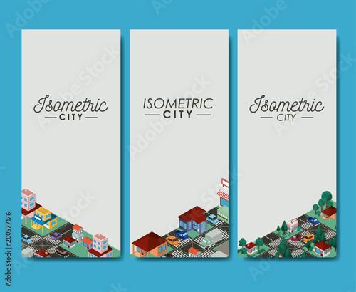 Cuadros en Lienzo isometric city scene cards icons