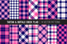 Navy Blue And Pink Tartan And Buffalo Check Plaid Vector Patterns. Girly Flannel Shirt Textures. Hipster Fashion. Checkered Background. Pattern Tile Swatches Included.