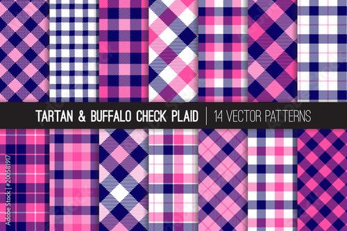Fotografia, Obraz  Navy Blue and Pink Tartan and Buffalo Check Plaid Vector Patterns