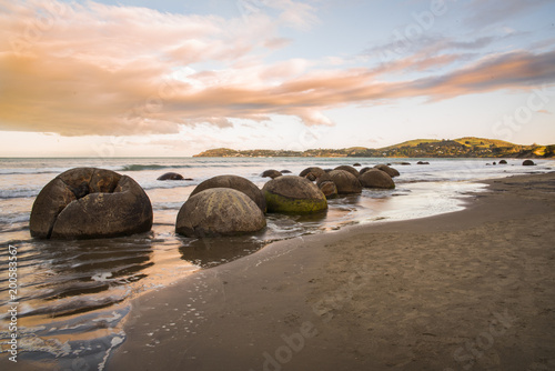 Moeraki Boulders in New Zealand during sunset. Wallpaper Mural