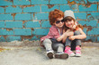 canvas print picture - hipster boy and girl in park
