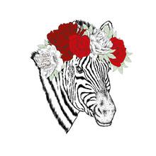 A Zebra In A Wreath Of Flowers...