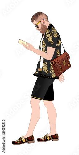 Fotobehang Art Studio Hipster with smartphone and bag walking