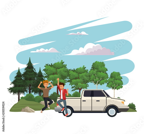 Young people traveling on vehicle vector illustration graphic design