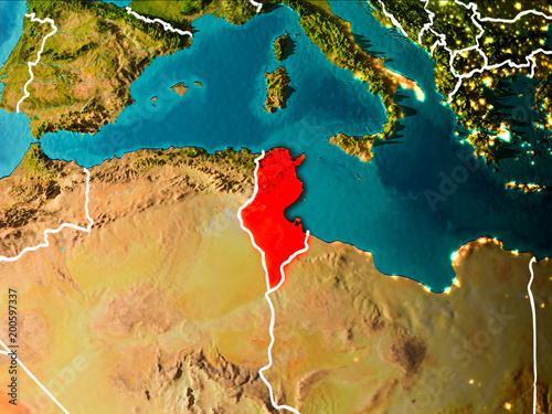 Map of Tunisia on Earth Wallpaper Mural